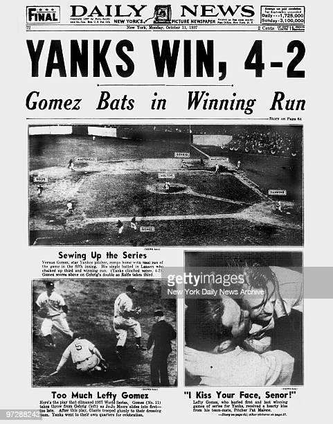 Daily News front page October 11 Headline YANKS WIN 42 Gomez Bats in Winning Run New York Yankees win the World Series