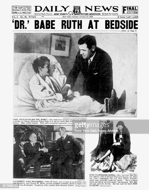 Daily News front page October 12 Headline 'DR' BABE RUTH AT BEDSIDE 'Gee I'M Glad To See You Babe' The small boy's greatest dream was realized...