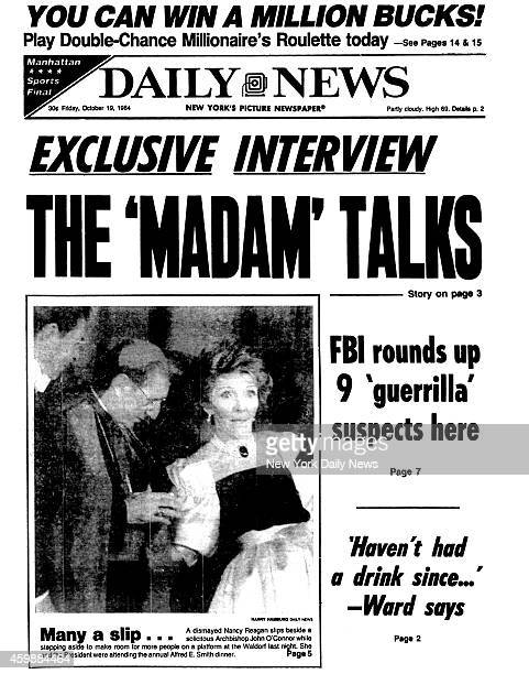 Daily News front page October 19 Headline EXCLUSIVE INTERVIEW THE 'MADAM' TALKS Sydney Biddle Barrows