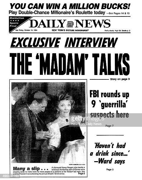 Daily News front page October 19 Headline EXCLUSIVE INTERVIEW THE 'MADAM' TALKS Sydney Biddle Barrows FBI rounds up 9 'guerrilla' suspects here...