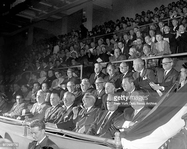 Daily News Golden Gloves fans seated in front row are District Attorney Frank Hogan Paul Screvane James A Farley Daily News editor Robert Shand...