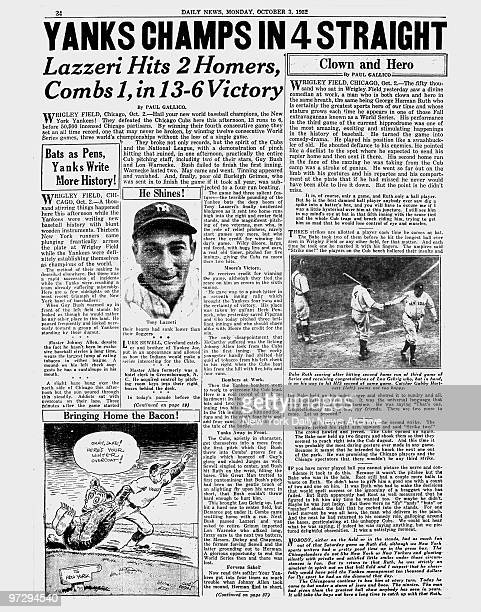 Daily News page 34 dated Oct 3 Headlines YANKS CHAMPS IN 4 STRAIGHT Lazzeri Hits 2 Homers Combs 1 in 136 Victory Tony Lazzeri Babe Ruth scoring after...