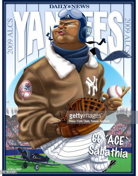 Daily News Yankees 2009 ALCS 2009 Poster CC 'Ace' Sabathia CC Sabathia Cartoon by Daily News Artist Ed Murawinski