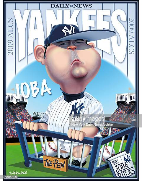 Daily News Yankees 2009 ALCS 2009 Poster Joba Chamberlain Cartoon by Daily News Artist Ed Murawinski