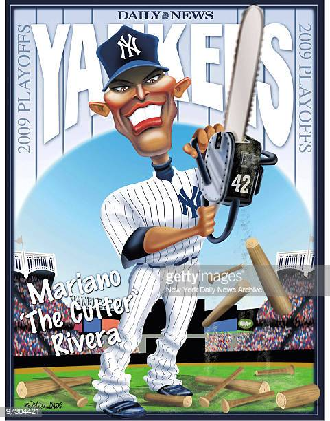 Daily News Yankees 2009 ALCS 2009 Poster Mariano 'The Cutter' Rivera Mariano Rivera Cartoon by Daily News Artist Ed Murawinski
