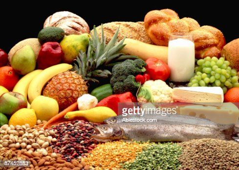 Daily serving of fruit and vegetables and meat : Stock Photo