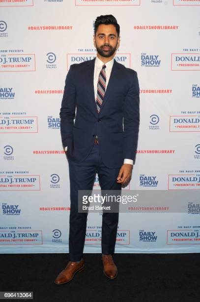 Daily Show Correspondent Hasan Minaj attends the The Donald J Trump Presidential Twitter Library Opening Reception presented by Comedy Central's The...