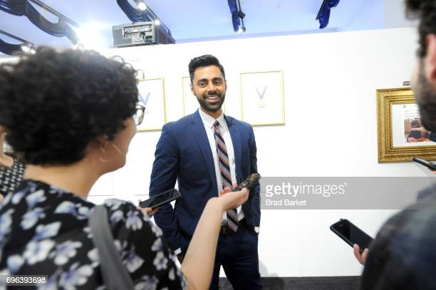Daily Show Correspondent Hasan Minaj gives an interview during The Donald J Trump Presidential Twitter Library Press Preview presented by Comedy...