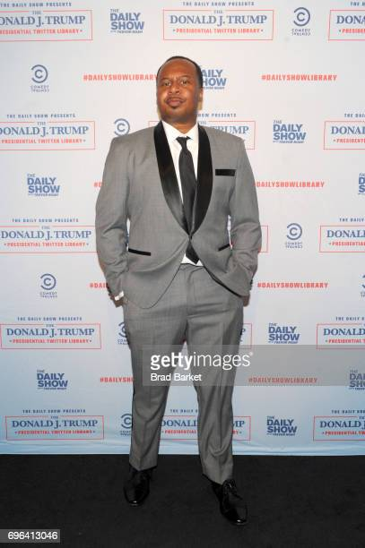 Daily Show Correspondent Roy Wood Jr attends the The Donald J Trump Presidential Twitter Library Opening Reception presented by Comedy Central's The...