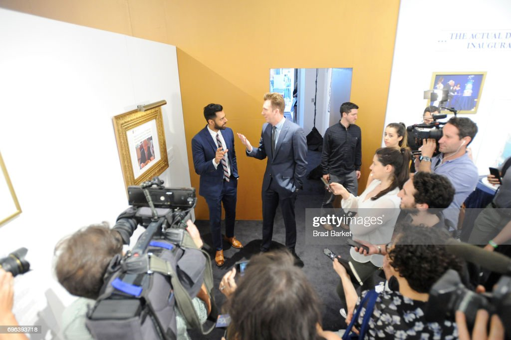 Daily Show Correspondents Hasan Minaj and Jordan Klepper give an interview during The Donald J. Trump Presidential Twitter Library Press Preview presented by Comedy Central's The Daily Show on June 15, 2017 in New York City.