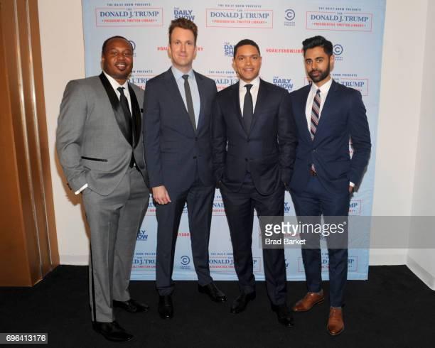 Daily Show Correspondents Roy Wood Jr Jordan Klepper Trevor Noah and Hasan Minaj attend the The Donald J Trump Presidential Twitter Library Opening...