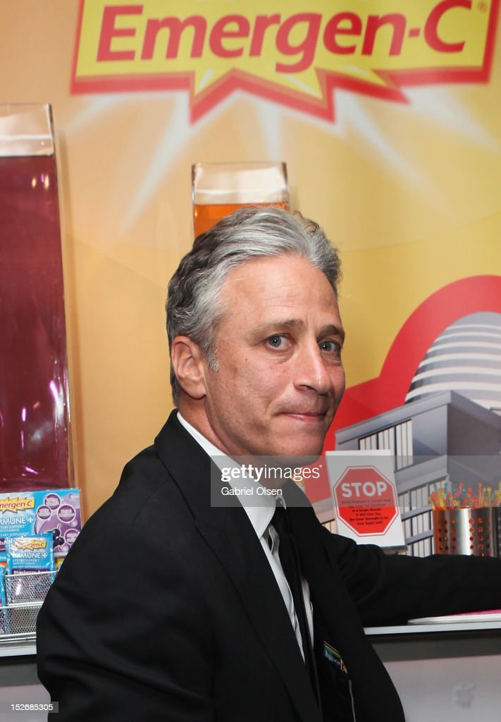 Daily Show host <a gi-track='captionPersonalityLinkClicked' href=/galleries/search?phrase=Jon+Stewart+-+Political+Satirist&family=editorial&specificpeople=202151 ng-click='$event.stopPropagation()'>Jon Stewart</a> poses with Emergen-C in the Presenters Gift Lounge Backstage in celebration of the 64th Primetime Emmy Awards produced by On 3 Productions at Nokia Theatre L.A. Live on September 23, 2012 in Los Angeles, California.