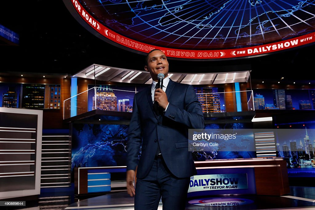 Daily Show host Trevor Noah is photographed on the set of the Daily Show for the Los Angeles Times on September 22, 2015 in New York City. PUBLISHED IMAGE.