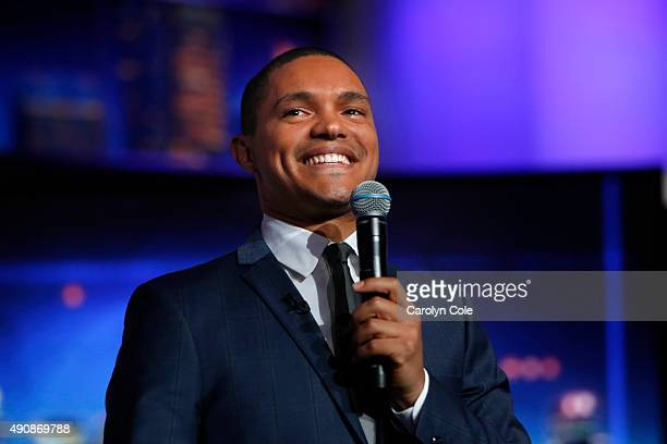 Daily Show host Trevor Noah is photographed on the set of the Daily Show for the Los Angeles Times on September 22 2015 in New York City PUBLISHED...