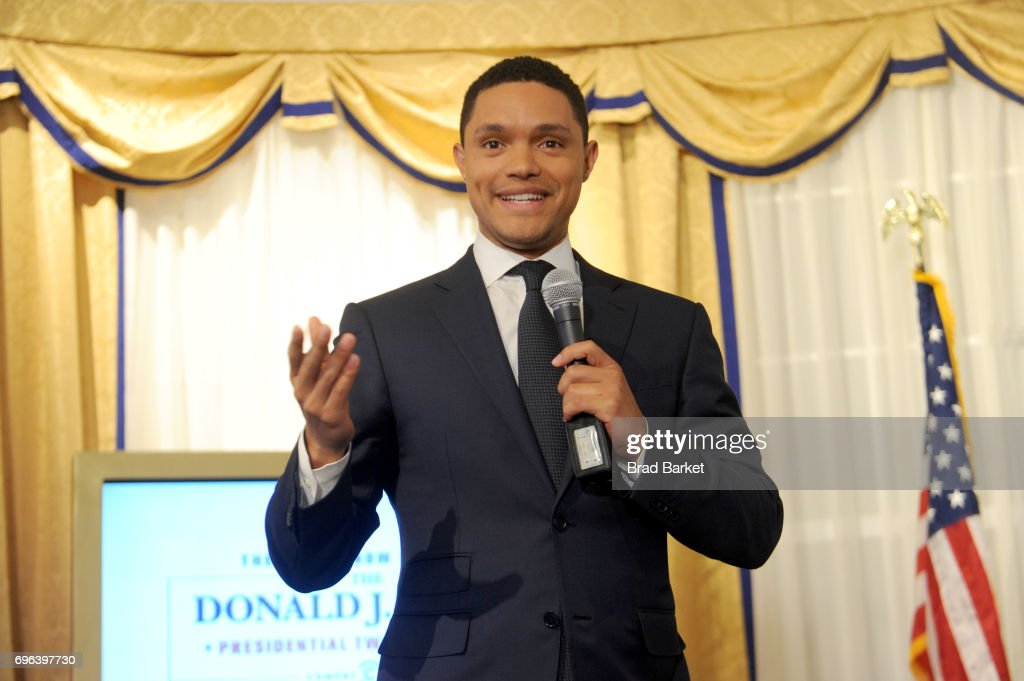 Daily Show Host Trevor Noah speaks onstage during The Donald J. Trump Presidential Twitter Library Press Preview presented by Comedy Central's The Daily Show on June 15, 2017 in New York City.