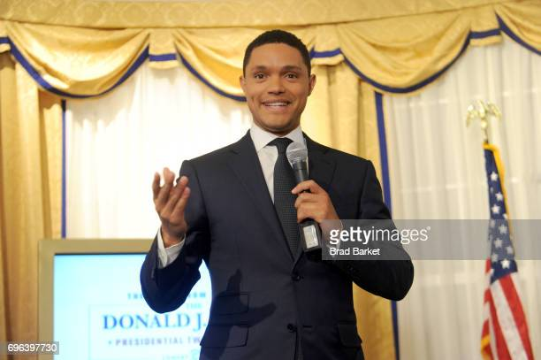 Daily Show Host Trevor Noah speaks onstage during The Donald J Trump Presidential Twitter Library Press Preview presented by Comedy Central's The...