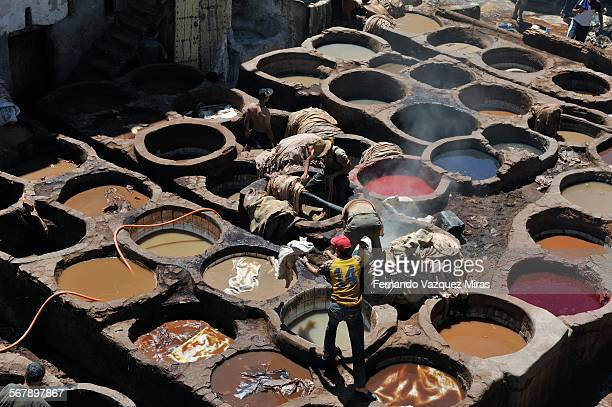 Daily work at the Fez leather tannery.