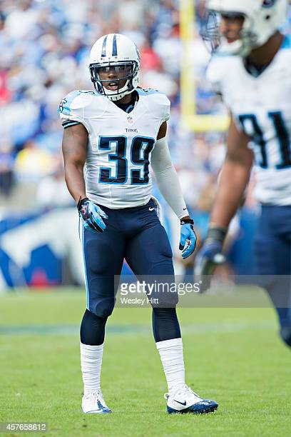 Daimion Stafford of the Tennessee Titans at the line of scrimmage during a game against the Jacksonville Jaguars at LP Field on October 12 2014 in...