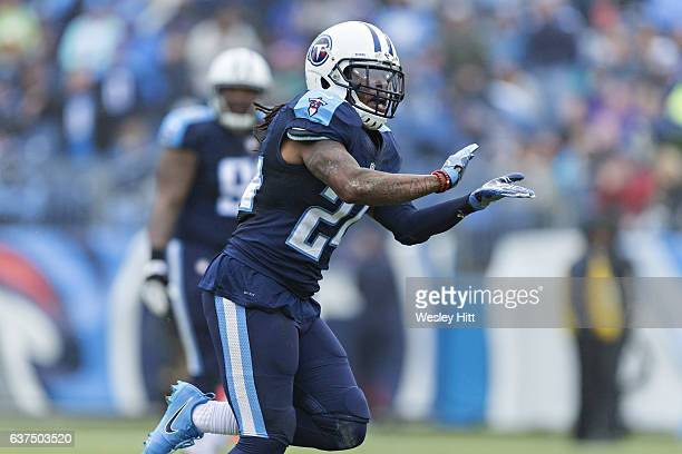 Daimion Stafford of the Tennessee Titans celebrates after sacking Brock Osweiler of the Houston Texans at Nissan Stadium on January 1 2017 in...
