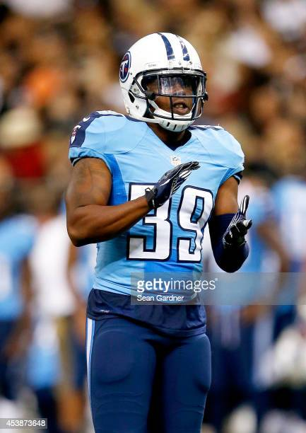 Daimion Stafford of the Tennessee Titans reacts to a play during a preseason game against the New Orleans Saints at the MercedesBenz Superdome on...