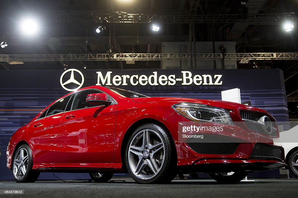 A Daimler AG Mercedes-Benz CLA250 vehicle sits on display during the Washington Auto Show in Washington, D.C., U.S., on Wednesday, Jan. 22, 2014. Mercedes-Benz, Audi AG and Bayerische Motoren Werke AG (BMW) and are targeting at least a fourth consecutive year of record sales in 2014 as new compacts tighten the race among the German rivals for the luxury-car industry's lead. Photographer: Andrew Harrer/Bloomberg via Getty Images
