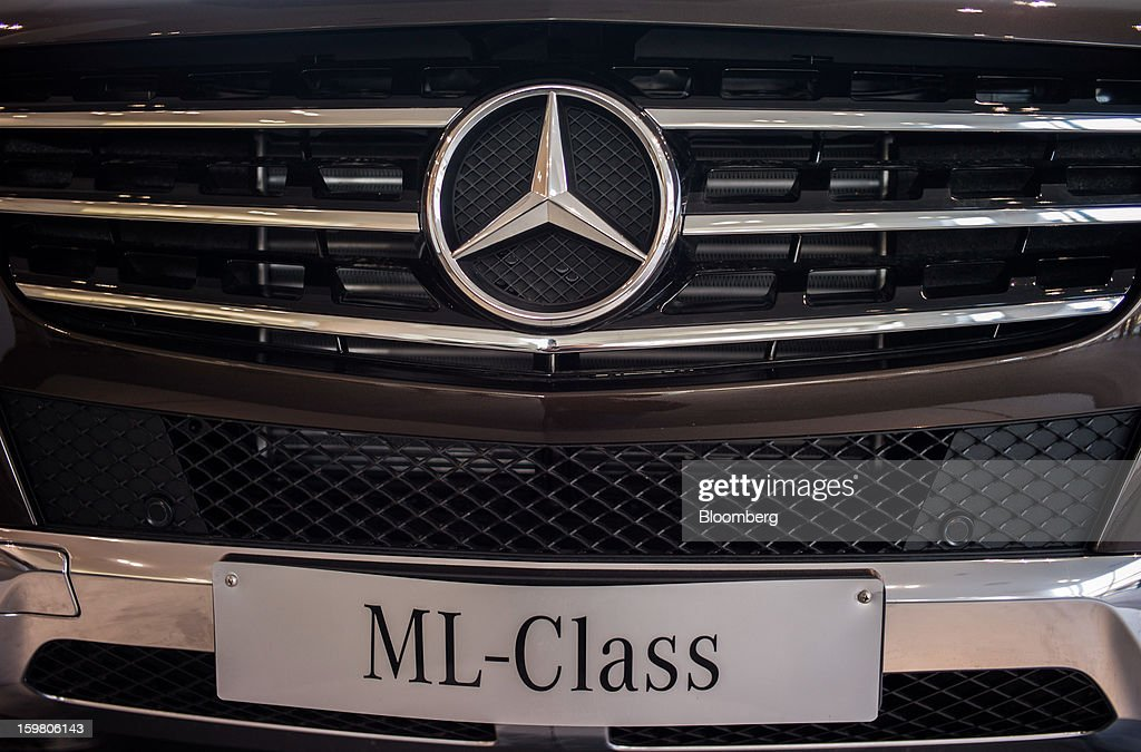 A Daimler AG Mercedes-Benz ML-Class vehicle is displayed inside the newly opened T&T Motors Ltd. Mercedes-Benz India flagship dealership in New Delhi, India, on Saturday, Jan. 19, 2013. The Indian Finance Ministry projects Asia's third-largest economy will expand as little as 5.7 percent in the 12 months to March 31, which would be the weakest pace in a decade. Photographer: Sanjit Das/Bloomberg via Getty Images