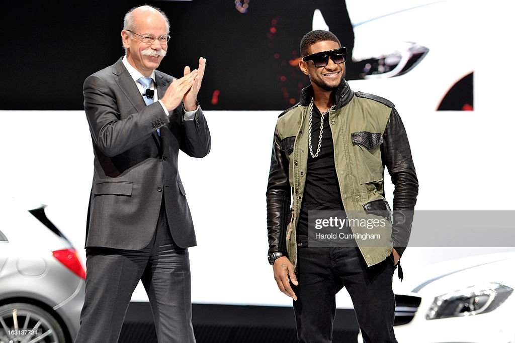 Daimler CEO Dieter Zetsche and Usher look on during the Mercedes-Benz presentation as part of the 83rd Geneva Motor Show on March 5, 2013 in Geneva, Switzerland. Held annually the Geneva Motor Show is one of the world's five most important auto shows with this year's event due to unveil more than 130 new products.