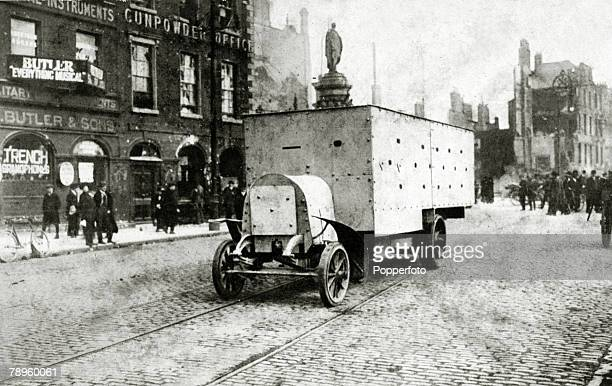 A DaimlerGuinness Type 2 Armoured Lorry at the junction of Sackville Street and Bachelors Walk Dublin during the Easter Rising April 1916 The...