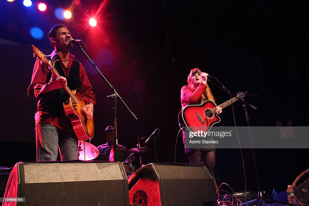 Daimon Williams and Tricia Murphy of Wicked Willy perform during the Rock For Recovery, A Benefit For Victims Of Hurricane Sandy at the Gramercy Theatre on January 17, 2013 in New York City.