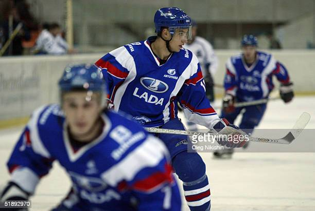 Dainius Zubrus of Lada Togliatti during a game against Dynamo Moscow December 24 2004 at Luzhniki Ice Arena in Moscow Russia Lada Togliatti defeated...