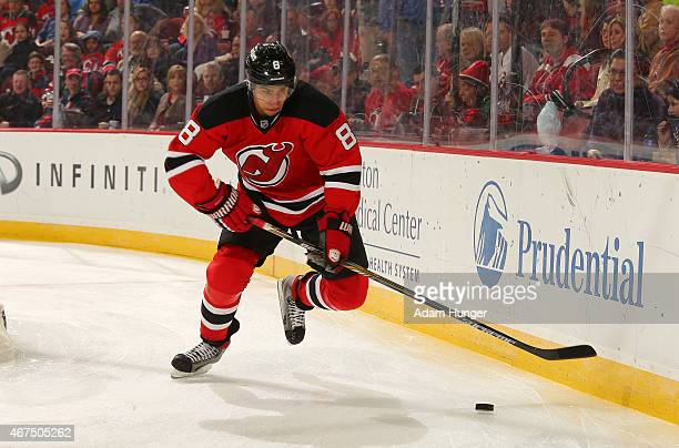 Dainius Zubrus of the New Jersey Devils in action against the New York Islanders during the first period at the Prudential Center on March 21 2015 in...