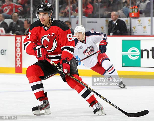 Dainius Zubrus of the New Jersey Devils skates during the second period against the Columbus Blue Jackets at the Prudential Center on March 6 2015 in...