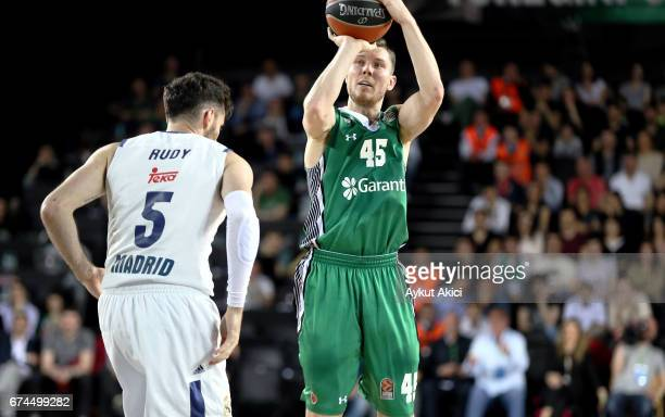 Dairis Bertans #45 of Darussafaka Dogus Istanbul in action during the 2016/2017 Turkish Airlines EuroLeague Playoffs leg 4 game between Darussafaka...