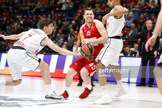 Dairis Bertans drives to the basket during a game of Turkish Airlines EuroLeague basketball between AX Armani Exchange Milan vs Brose Bamberg at...