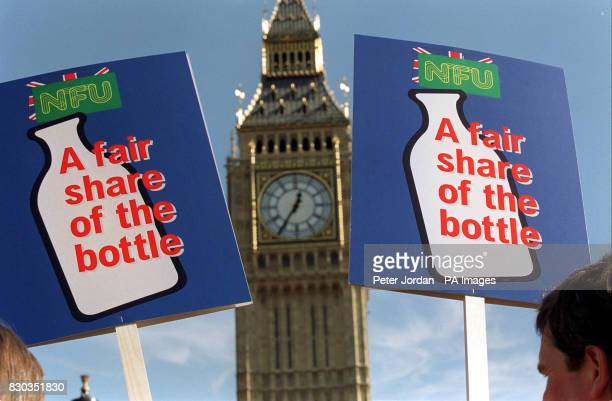Dairy farmers outside the Houses of Parliament in London as part of the National Farmers Union 'Fair Share of the Bottle' campaign over plummeting...