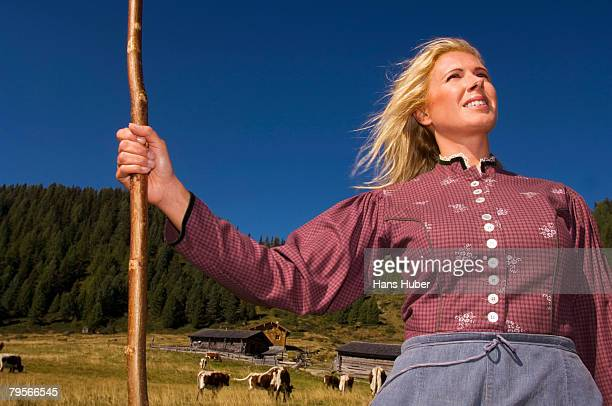 Dairy maid holding crook