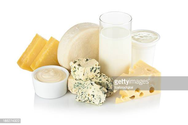 Dairy products shot on reflective white background