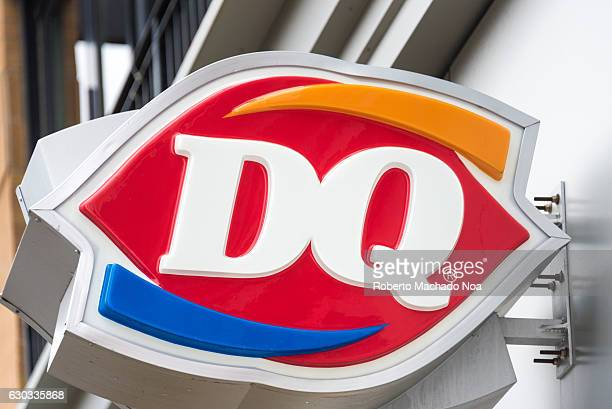 Dairy Queen Signage or DQ international frozen products restaurant famous for soft serve ice cream