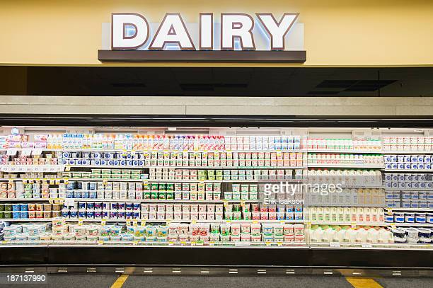 Dairy section of grocery store