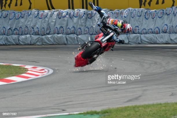 Daisaku Sakai of Japan and Yoshimura Suzuki Racing Team crashed out during the Race One of the Supersbike World Championship round five on May 9 2010...