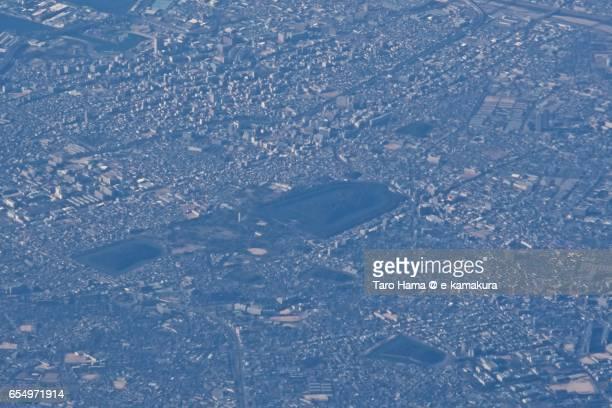 Daisen Kofun burial mound, daytime aerial view from airplane