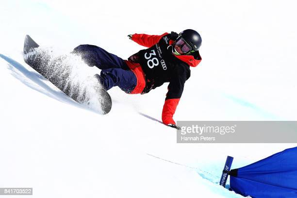 Daisuke Fujishima of Japan competes in the Men's Banked Slalom Lower Limb 2 Imp final during the Winter Games NZ Para Snowboard Banked Slalom World...