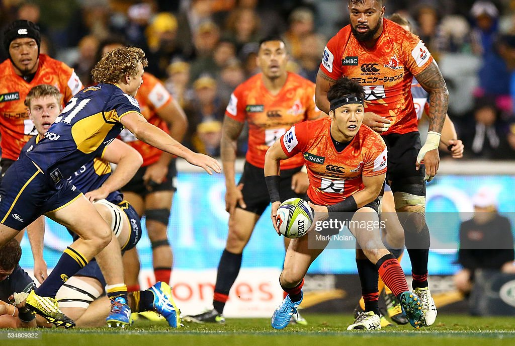 Daisuke Inoue of the Sunwolves in action during the round 14 Super Rugby match between the Brumbies and the Sunwolves at GIO Stadium on May 28, 2016 in Canberra, Australia.