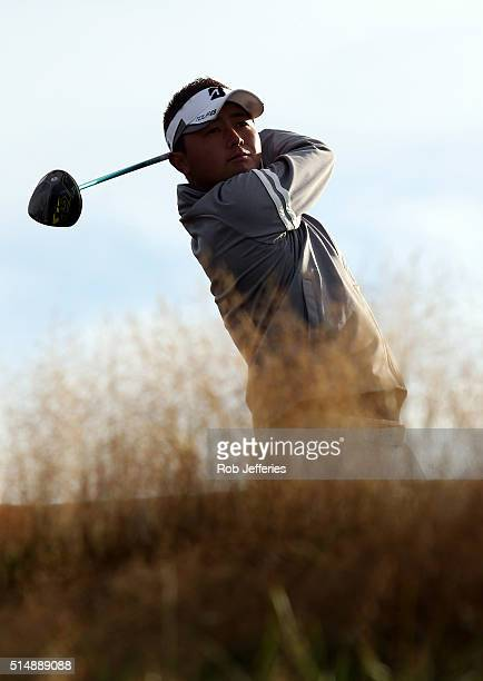 Daisuke Kataoka of Japan hits a driver during day three of the 2016 New Zealand Open at The Hills on March 12 2016 in Queenstown New Zealand