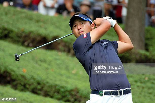 Daisuke Kataoka of Japan hits a shot during the final round of the Top Cup Tokai Classic at Miyoshi Country Club on October 2 2016 in Miyoshi Aichi...