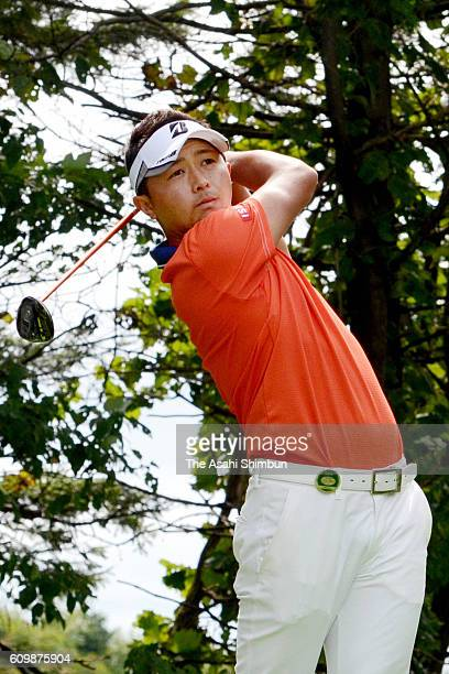 Daisuke Kataoka of Japan hits a tee shot on the 7th hole during the third round of the ANA Open at the Sapporo Golf Club Wattsu Course on September...