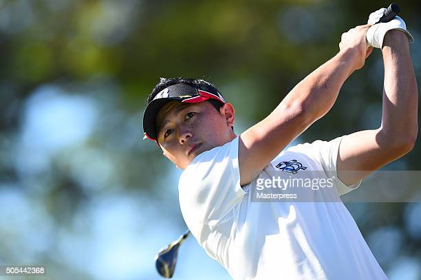 Daisuke Kataoka of Japan hits his tee shot on the 11th hole during the final round of the Sony Open In Hawaii at Waialae Country Club on January 17...