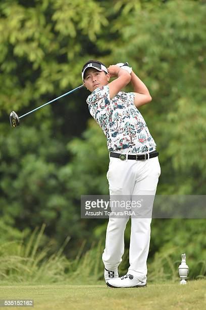 Daisuke Kataoka of Japan hits his tee shot on the 13th hole during the Mizuno Open at JFE Setonaikai Golf Club on May 29 2016 in Okayama Japan