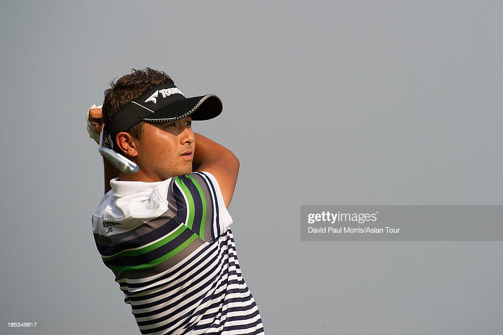 <a gi-track='captionPersonalityLinkClicked' href=/galleries/search?phrase=Daisuke+Kataoka&family=editorial&specificpeople=8204705 ng-click='$event.stopPropagation()'>Daisuke Kataoka</a> of Japan hits his tee shot on the 17th hole during round three of the Venetian Macau Open on October 19, 2013 at the Macau Golf & Country Club in Macau. The Asian Tour tournament offers a record US$ 800,000 prize money which goes through October 20.