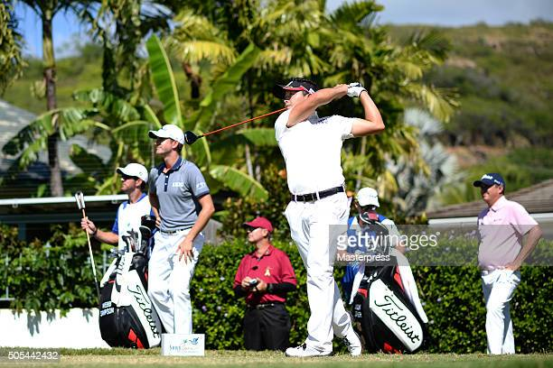 Daisuke Kataoka of Japan hits his tee shot on the 3rd hole during the final round of the Sony Open In Hawaii at Waialae Country Club on January 17...